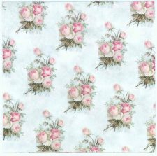 Decoupage Napkins of Small Pastel Rose Bouquets