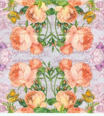Decoupage Napkins of Pastel Roses Butterflies and Sheet Music
