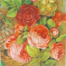 Decoupage Paper Napkins of Still Life of a Basket of Roses