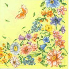 Decoupage Paper of  Wild Flower Garden Butterflies Napkins