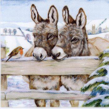 Decoupage Paper | Donkeys & Robin in Snow | Animal Napkins