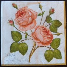 Decoupage Paper Art Napkin - Rose Duet