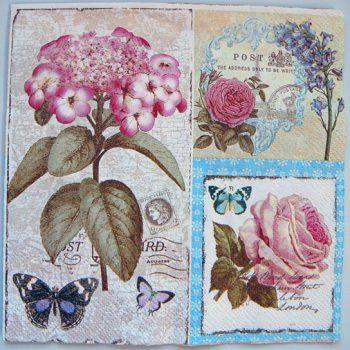 Decoupage Paper Art Napkin - Flowers on a Vintage French Postcard