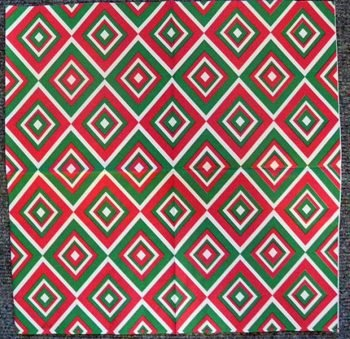 Decoupage Paper Art Napkin | Squadra Pattern in Cream and Green