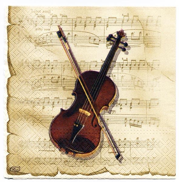 Decoupage Paper Of Violin On Sheet Music Napkin Chiarotino