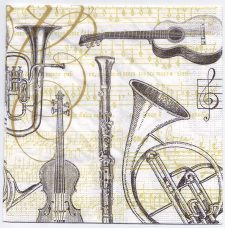 Decoupage Paper Art Napkin | Musical Instruments