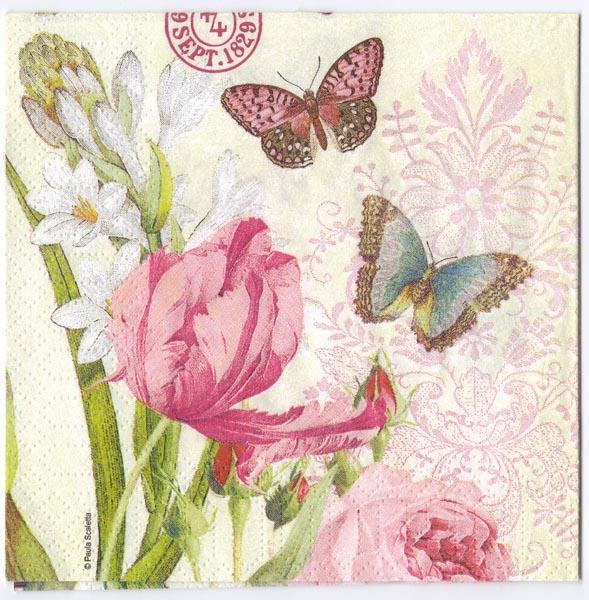 Decoupage Paper Of Flowers And Butterflies Napkin Chiarotino