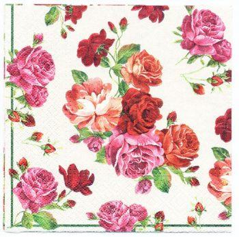 Decoupage Paper Art Napkin   Shower of Roses