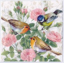 Decoupage Paper Art Napkin | Birds and Flowers