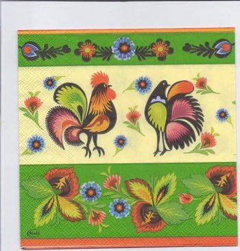 Decoupage Paper Art Napkin | Rooster and Hen