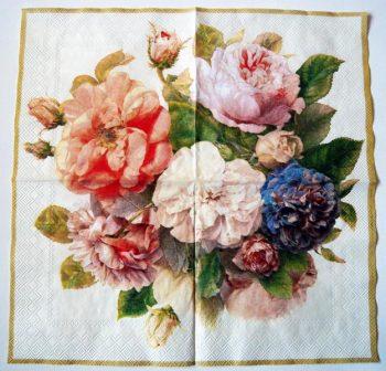 Decoupage Paper Art Napkin   Shimmering Roses
