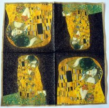 "Decoupage Paper Art Napkin | Gustav Klimt's Der Kuss (The Kiss) on a Black Background (13""x13"")"