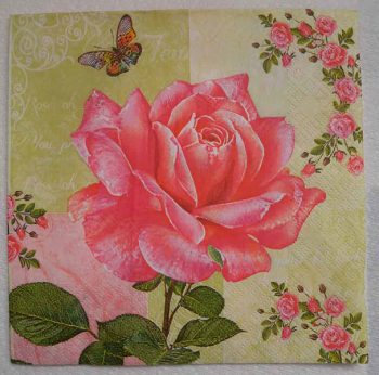 Decoupage Paper Art Napkin - Rose and Butterfly