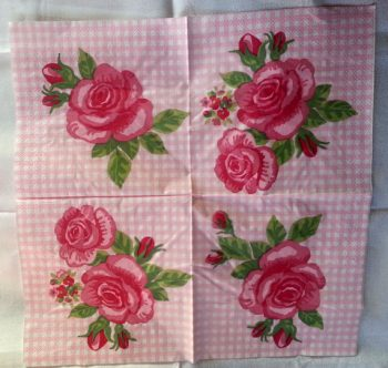 Decoupage Paper Art Napkin   Red Rose on a Checkered Background