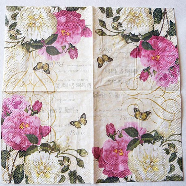 Decoupage Napkins Of Paris Roses Perfumery Butterfly