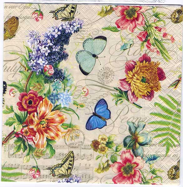 Decoupage Napkins Of Summer Of Butterflies And Flowers