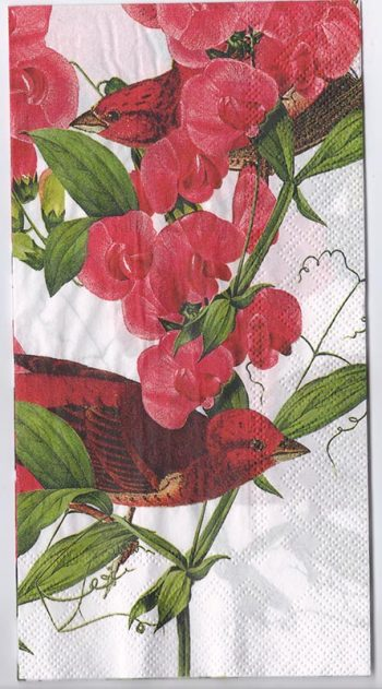 Decoupage Paper Art Napkin | Orchids and Purple Finches