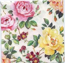 Decoupage Paper Art Napkin | Pink and Yellow Roses in the Garden