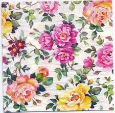 Paper Napkins Pink Yellow Roses