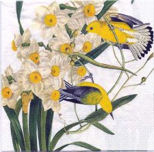 Paper Napkin | Goldfinch with Daffodils