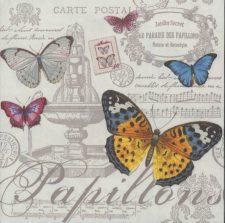 Decoupage Paper Napkins | Paris Butterflies and Postcards | Butterfly Napkins | Paris Napkins | Paper Napkins for Decoupage