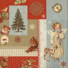 Decoupage Paper Napkins | Christmas Angel and Animals | Angel Napkins | Christmas Napkins | Fawn Squirrel Paper Napkins for Decoupage