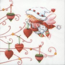 Decoupage Paper Napkins | Christmas Fairy Girl Decorating Tree with Hearts | Christmas Napkins | Fairy Paper Napkins for Decoupage