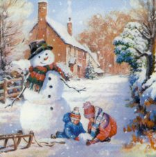 Decoupage Paper Napkins | Snowman with Children and Sleigh | Christmas Napkins | Winter Napkins Christmas Tree Paper Napkins for Decoupage