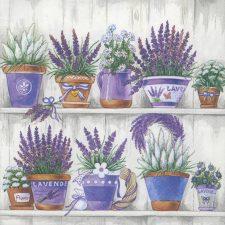 Decoupage Paper Napkins | Lavender Flowerpots  | Lunch Napkins | Floral Napkins | Lavender Napkins | Paper Napkins for Decoupage