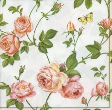 Decoupage Paper Napkins Rambling Pink Roses and a Blue Butterfly on White Rose Napkins Floral Napkins Lunch Paper Napkins for Decoupage