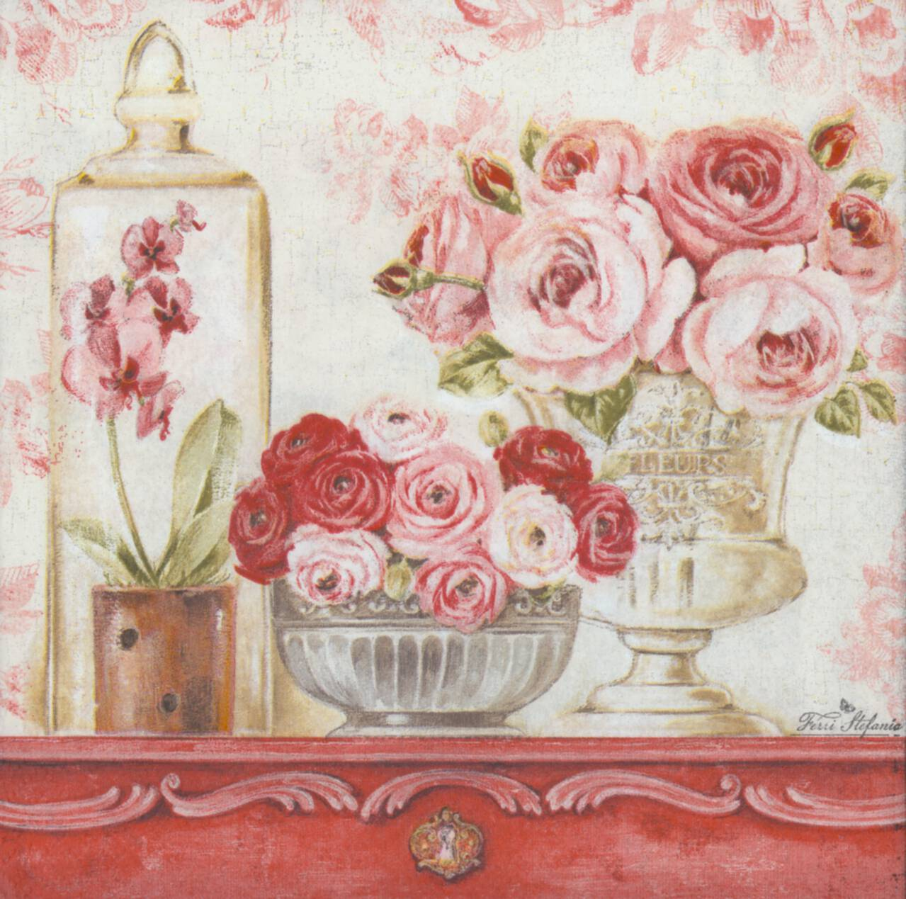 Decoupage Paper Napkins Of Shabby Roses On A Mantle