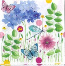 Decoupage Paper Art Napkin | Butterflies and Dragonfly in a Summer Meadow | Paper Napkins for Decoupage