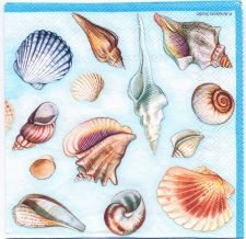 Decoupage Paper Napkins | Sea Shell Collection in Blue | Paper Napkins for Decoupage