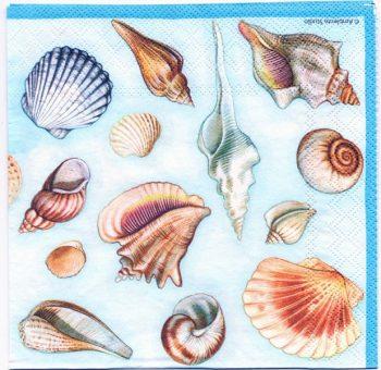 Decoupage Paper Napkins | Sea Shell Collection in Blue | Paper Napkins for Decoupage