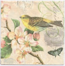Decoupage Paper Napkins | Bird Blossoms Butterfly | Paper Napkins for Decoupage