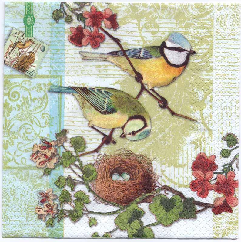 Decoupage tissue BIRDS Set of 5 napkins #2113