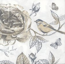 Decoupage Paper Napkins | Bird Rose Butterflies | Bird Napkins | Rose Napkins | Floral Napkins | Garden | Paper Napkins for Decoupage
