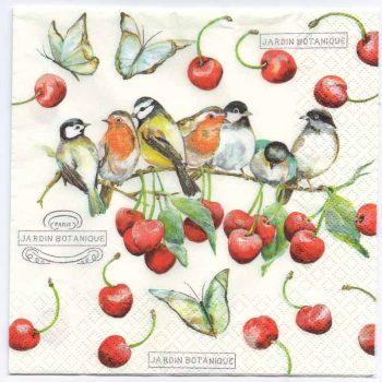 Decoupage Paper Napkins | Birds and Butterflies in a Cherry Tree | Paper Napkins for Decoupage
