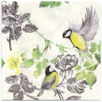 Decoupage Paper Napkins   Two Birds with a Dog Rose   Paper Napkins for Decoupage