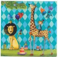 Decoupage Paper Napkins | Boys Birthday Lion and Giraffe Balloons | Animal Napkins | Birthday Party Napkins  | Paper Napkins for Decoupage