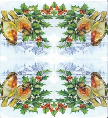 Decoupage Paper Napkins   Bullfinches with Mistletoe in Winter   Bird Napkins   Winter Napkins Christmas Napkins Paper Napkins for Decoupage