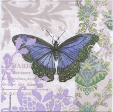 Decoupage Paper Napkins | Blue French Butterfly with Fleur-de-lis | Paper Napkins for Decoupage