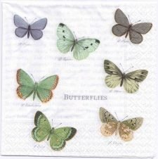 Decoupage Paper Art Napkin | Vintage Butterfly Collection of 7 Butterflies | Paper Napkins for Decoupage