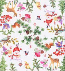 Decoupage Paper Napkins | Christmas Fairy Garden with Wildlife Snowman Mistletoe Owl Birds Fawn Squirrel | Paper Napkins for Decoupage