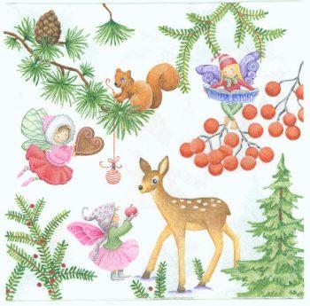 Decoupage Paper Napkins   Christmas Fairy Garden with Wildlife Snowman Mistletoe Owl Birds Fawn Squirrel   Paper Napkins for Decoupage