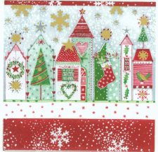 Decoupage Paper Napkins | Snowy Christmas Homes | Party Napkins | Christmas Napkins | Paper Napkins for Decoupage