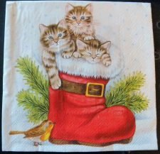 Art Paper Napkins for Collage Decoupage Altered Art Mixed Media | 3 Christmas Kittens in a Stocking with a Bird