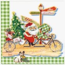 Decoupage Paper Napkins | Santa Claus on Bicycle Presents Puppy | Christmas Napkins | Paper Napkins for Decoupage