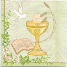 Decoupage Paper Art Napkin | Communion Chalice with Dove | First Communion Napkins  | Paper Napkins for Decoupage