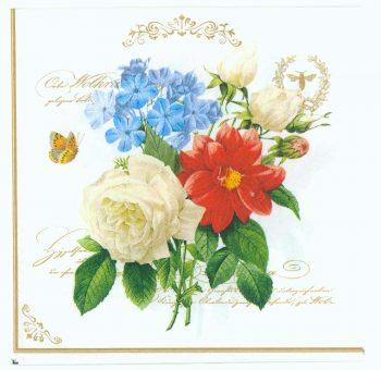 Decoupage Paper Napkins   Floral Bouquet Rose Butterfly Bee   Rose Napkins   Bee Napkins   Paper Napkins for Decoupage